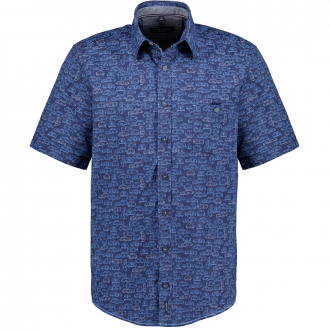 "Freizeithemd mit Allover-Print ""Beetle""  kurzarm blau/dunkelblau_100/4040   XXL"
