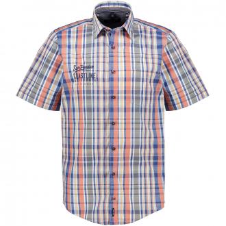 Freizeithemd kariert mit Stickerei, kurzarm blau/orange_100/4055   XXL