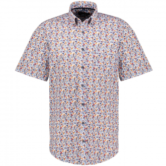 Freizeithemd mit Allover-Print, kurzarm blau/orange_100/4055 | XXL