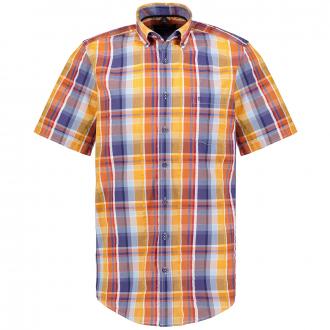Freizeithemd mit Streifen-Karo, kurzarm blau/orange_450/4055   XXL