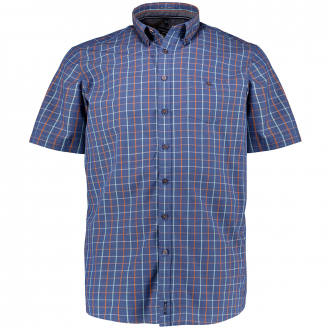 Baumwollhemd mit Karomuster, kurzarm blau/orange_450/4055   XXL