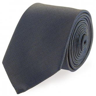 Gemusterte Krawatte aus reiner Seide dunkelblau_48 | One Size