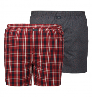Web-Boxer-Shorts im Doppelpack blau/rot_12D1 | 3XL