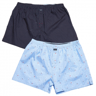 Modisch gemusterte Web-Boxer-Shorts im Doppelpack blau/dunkelblau_11C8 | 3XL