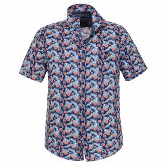 Modisches Freizeithemd mit floralem Muster blau_100 | 3XL