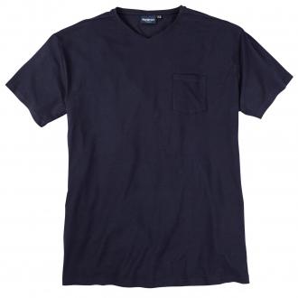 T-Shirt mit V-Ausschnitt und Brusttasche dunkelblau_0580   3XL
