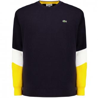 Lässiger Rundhals-Pullover aus Baumwolle mit modernen Colourblocks dunkelblau_BU4 | 3XL