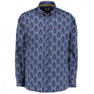 Modisches Freizeithemd langarm mit Blattmuster blau_176   XXL