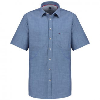 Kurzarmhemd in melierter Optik blau_120 | XXL