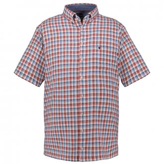 Kariertes Kurzarmhemd mit Button-Down-Kragen blau/rot_354   3XL