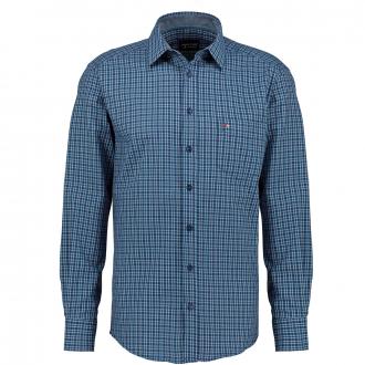 Kariertes Freizeithemd mit Brusttasche, langarm blau_155 | 3XL