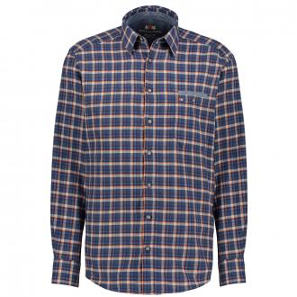Leichtes Flanellhemd im modischen Karodesign, langarm dunkelblau_6550 | 4XL