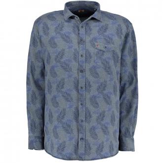 Langarmhemd mit Alloverprint und Stretchanteil blau_176 | XXL