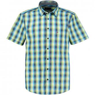 Leichtes Freizeithemd im graphischem Karomuster, kurzarm, Short Style blau/türkis_455/4045 | XXL