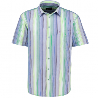 Luftiges Freizeithemd in Seersucker-Qualität, kurzarm, Short Style blau/grün_465/4060   XXL