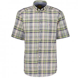 Freizeithemd aus Baumwolle-/Leinenmix, kurzarm, Regular Fit blau/grün_455/4060 | XXL