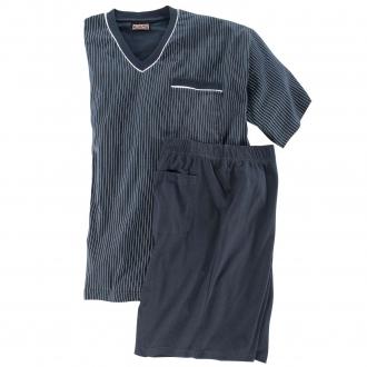 Kurzer Schlafanzug mit Längsstreifen dunkelblau_360 | 3XL