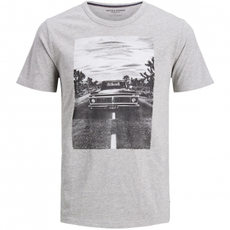 "T-Shirt mit gummiertem ""Oldtimer""-Print hellgrau_LIGHTGREY | 5XL"