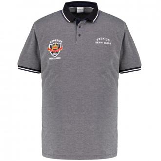 Weiches Piqué-Poloshirt mit Kontrastdetails, kurzarm schwarz_BLACK | 3XL