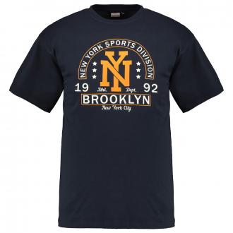 """T-Shirt mit gummiertem """"NY Brooklyn""""-Print dunkelblau_360   6XL"""