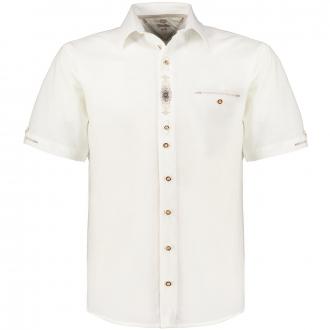Trachtenhemd mit dezenter Stickerei, kurzarm weiß_01   3XL