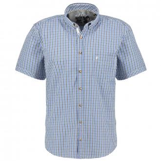 Kariertes Trachtenhemd, kurzarm blau/weiß_153/4020 | XXL