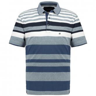 Poloshirt mit Blockstreifen, kurzarm blau/weiß_105/4020 | 4XL