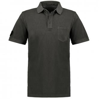 Modisch verwaschenes Poloshirt mit Brusttasche, kurzarm schwarz_15 | 4XL