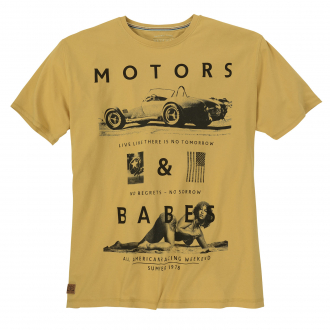"Trendiges T-Shirt mit Frontprint ""Motors & Babes"" curry_874 | 3XL"