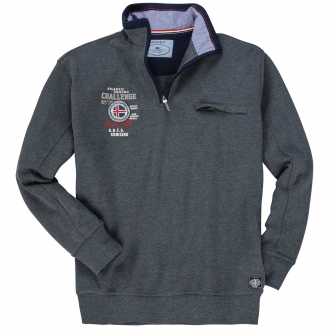 Freizeittaugliches Troyer-Sweatshirt mit Stickerei und Brusttasche dunkelgrau_71600   6XL
