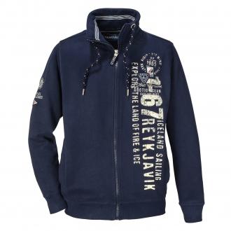 Maritime Sweatjacke mit seitlichem Print dunkelblau_547/400   3XL
