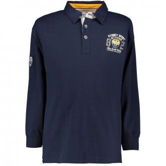 "Baumwoll-Poloshirt mit ""Sydney-Sport""-Aufnäher, langarm dunkelblau_547/400 | 3XL"
