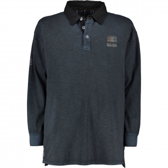 Poloshirt im Vintage-Look, langarm schwarz_15 | 4XL