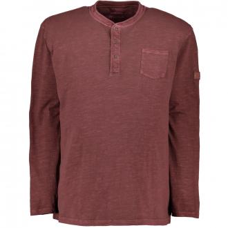 T-Shirt im Vintage-Look, langarm weinrot_869 | 5XL