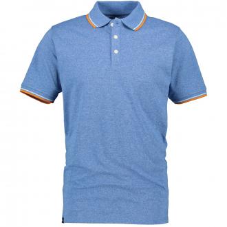 Meliertes Poloshirt mit Kontrastdetails, kurzam blau_192 | 8XL