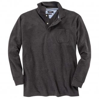 Pique-Langarm-Poloshirt grau_22 | 3XL