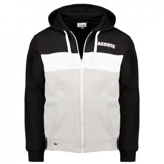 Softe Sweatjacke mit Kapuze im trendigen Colorblock und Kängurutaschen schwarz_DGX | 3XL