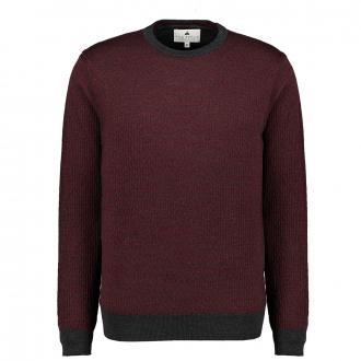 Weicher Pullover mit Minimal-Jacquards dunkelrot_359 | 3XL