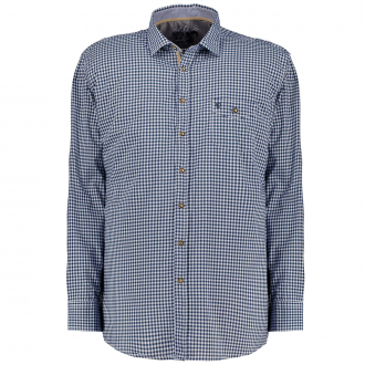 kariertes Trachtenhemd, langarm blau_1570 | 3XL
