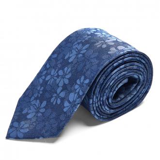Moderne Seidenkrawatte mit Blumen-Webmuster dunkelblau_3/400   One Size