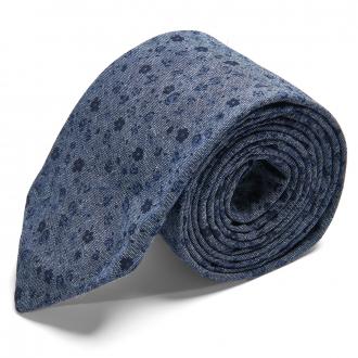 Lässige Krawatte in Jeans-Look mit Blumenprint graublau_2/39 | One Size