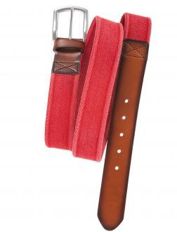 Canvasgürtel mit Lederabschluss rot_54   130