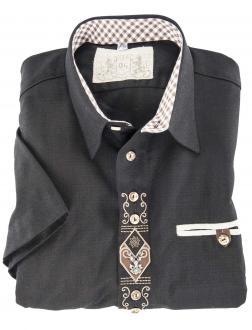 Kurzarm Trachtenhemd schwarz_70 | 3XL