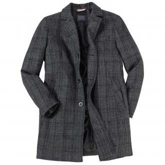 Stilvoller Wollmantel mit Glencheck-Muster schwarz_09 | 32