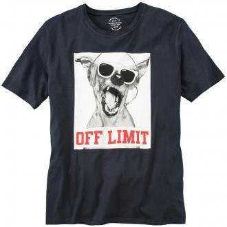 "T-Shirt mit ""Dog""-Print, kurzarm schwarz_TAPSHOE   3XL"