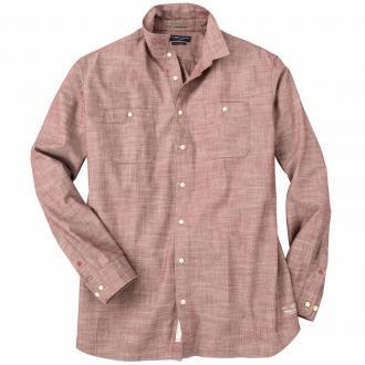Meliertes Freizeithemd mit farbigen Knöpfen und 2 Taschen weinrot_SASSAFRAS | 3XL