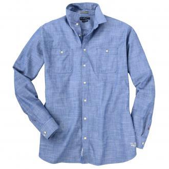 Meliertes Freizeithemd mit farbigen Knöpfen und 2 Taschen jeansblau_VINTAGEINDIGO | 3XL