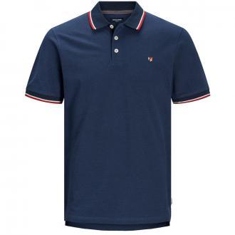 Pique-Poloshirt mit Stickerei und Kontrastdetails, kurzarm marine_NAVY   3XL