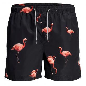 Coole Badeshort mit Flamingo-Print schwarz_TAPSHOE | W54