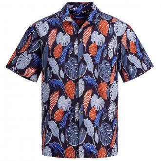 Sommerliches Hawaiihemd mit floralem Print blau_NAVYBLAZER | 3XL